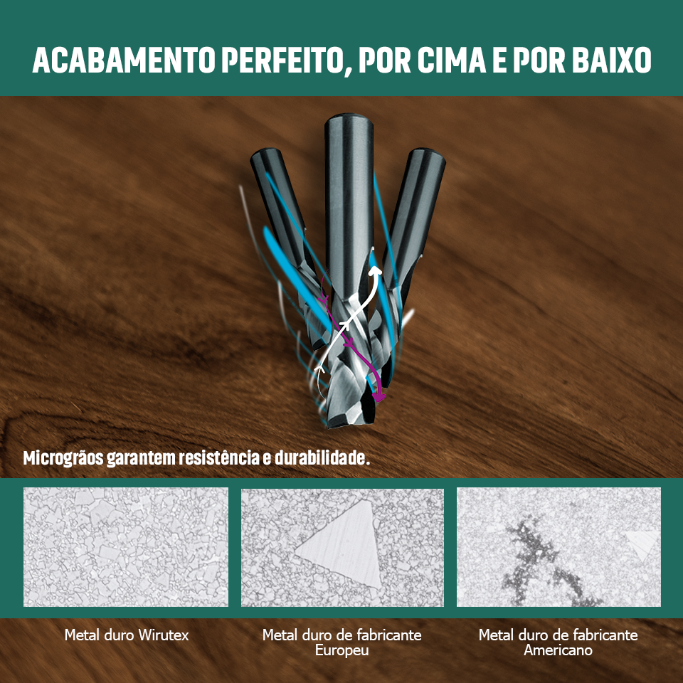 Foto - Metal duro superior e geometria especial garantem durabilidade e acabamento